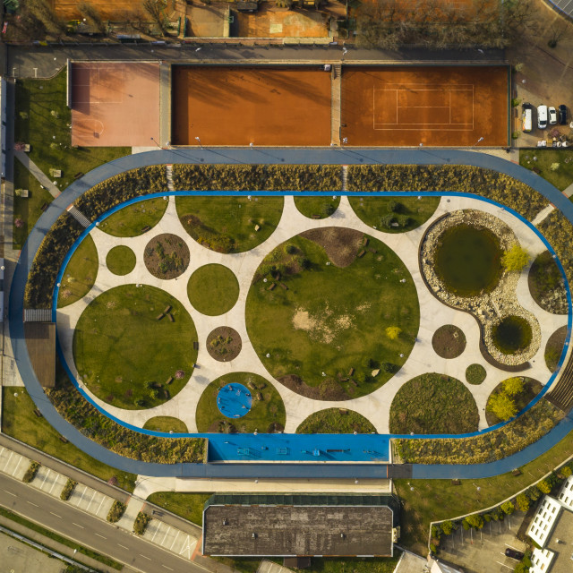 """""""Aerial view of an organically and ellipse shaped public park in Bratislava"""" stock image"""