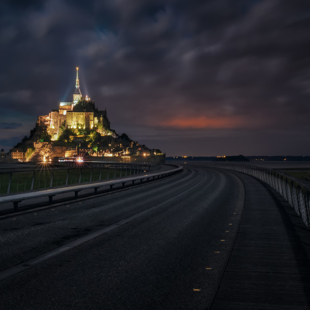 """""""The Mont Saint Michel by night, Normandy, France"""" stock image"""