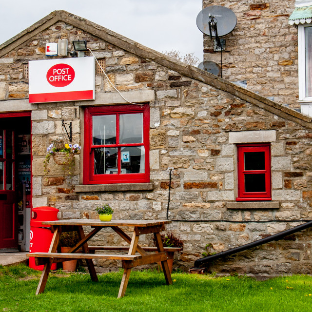 """Reeth Post Office and Corner Shop."" stock image"