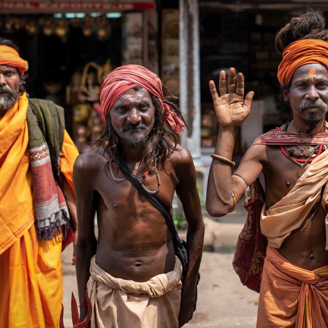 """Sadhus in the holy city of Varanasi, India"" stock image"