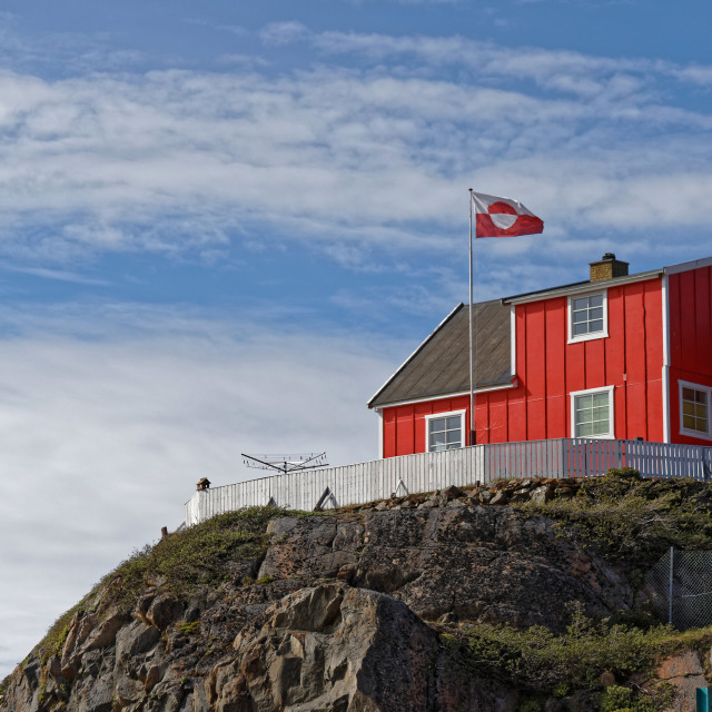 """""""Sisimiut Red House with Greenland Flag"""" stock image"""