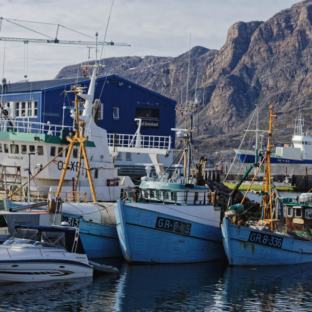 """""""Boats in Sisimiut Commercial Harbour"""" stock image"""
