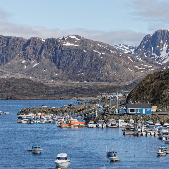 """""""Boats in Sisimiut Local Harbour"""" stock image"""