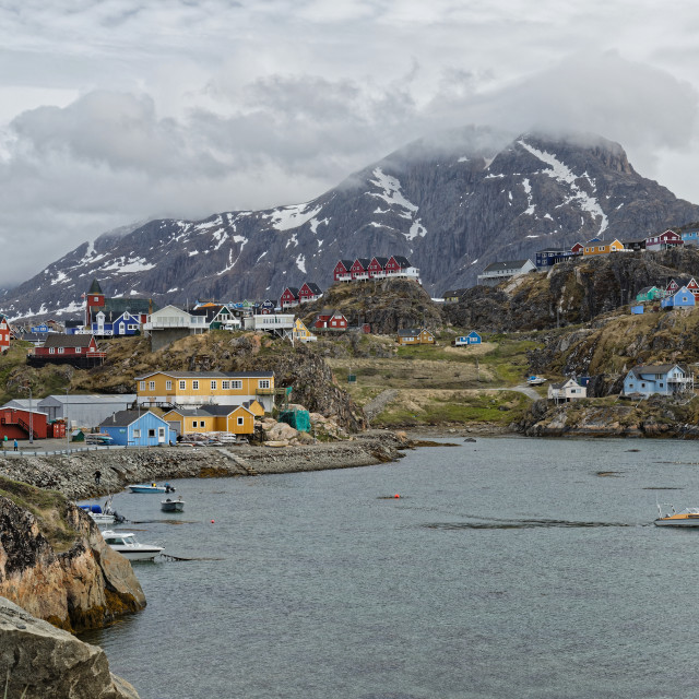 """""""Sisimiut local harbour with town and mountain backdrop"""" stock image"""