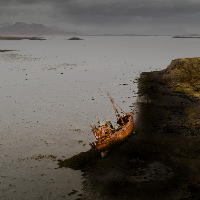 """GHOST SHIP AT ICELAND SEASIDE"" stock image"