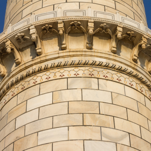 """Detail of the Taj Mahal's minaret"" stock image"
