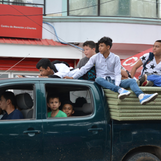 """Kids on Truck"" stock image"