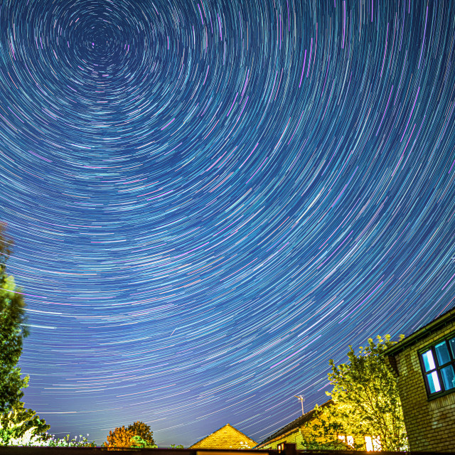"""""""Star Trails from Cambridge UK."""" stock image"""