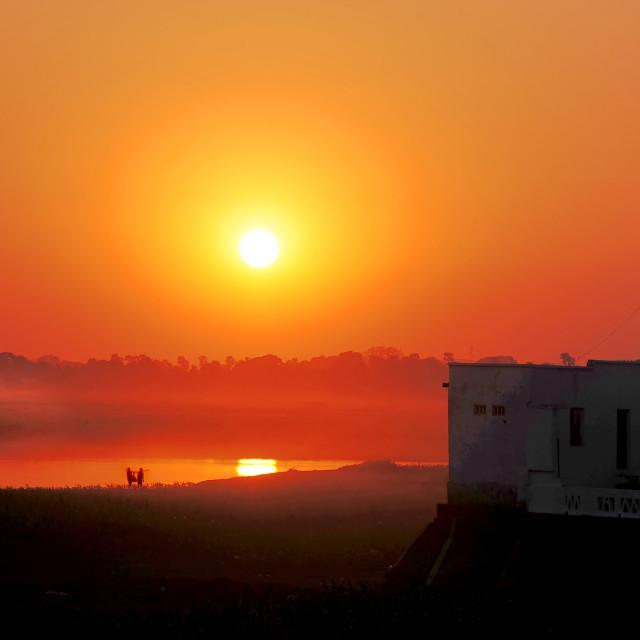"""Sunset at U Bien"" stock image"