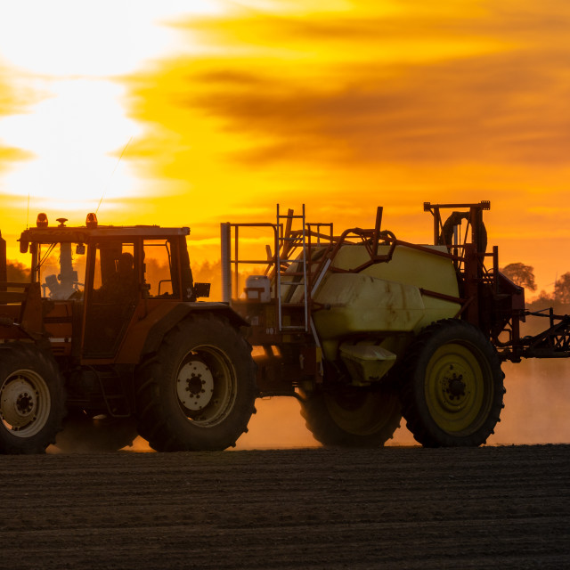 """agricultural tractor with sprayer on the field during sunset"" stock image"