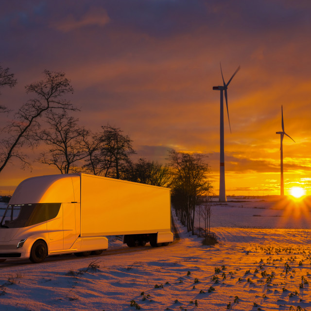 """vision of using the Tesla Semi Truck electric truck during cold,"" stock image"