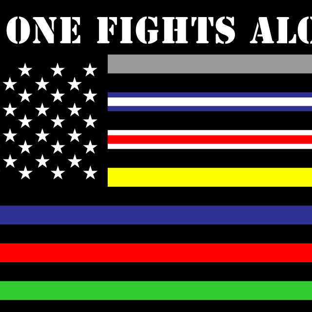 """""""no one fights alone"""" stock image"""