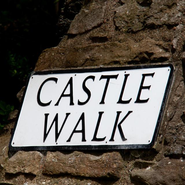 """Castle Walk (sign), Richmond,North Yorkshire."" stock image"