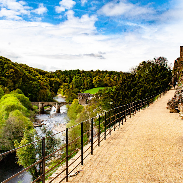 """""""View over River Swale from Castle Walk, Richmond,North Yorkshire."""" stock image"""