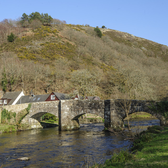 """Fingle Bridge, Dartmoor, Devon"" stock image"