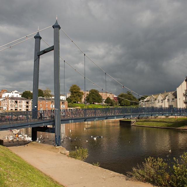 """Exe Suspension Bridge, Exeter Quays"" stock image"