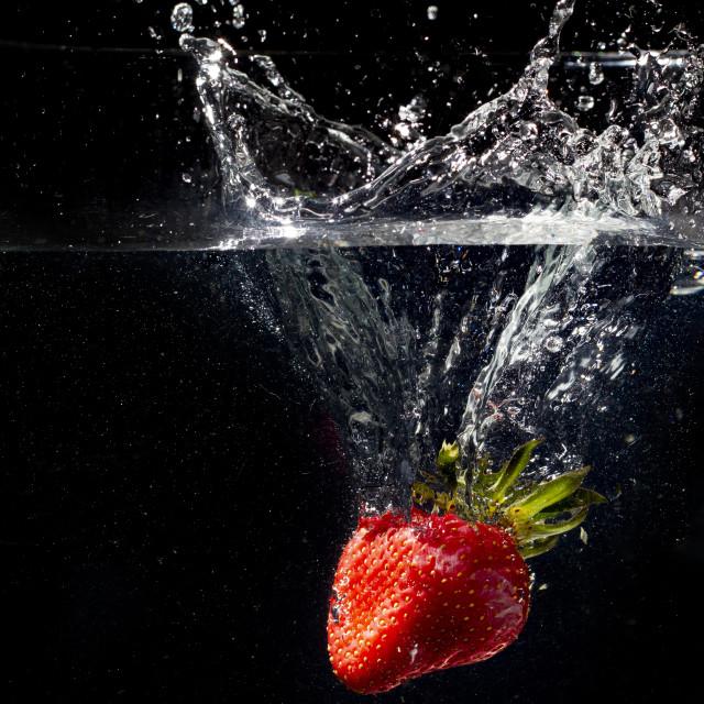 """""""Fresh strawberry water splash"""" stock image"""
