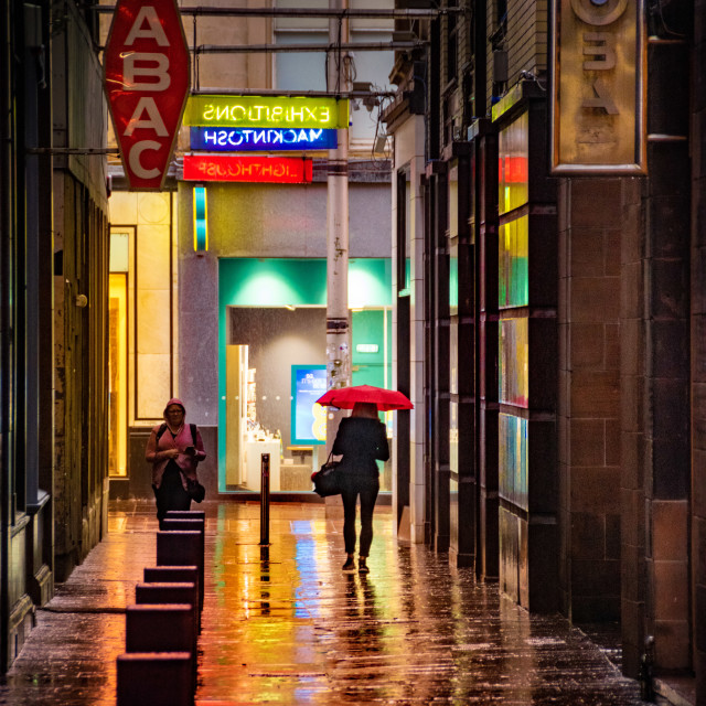 """Rain Reflections on Mitchell Lane"" stock image"