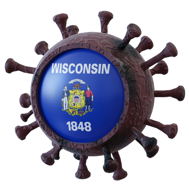 """Wisconsin vs covid19 fight"" stock image"