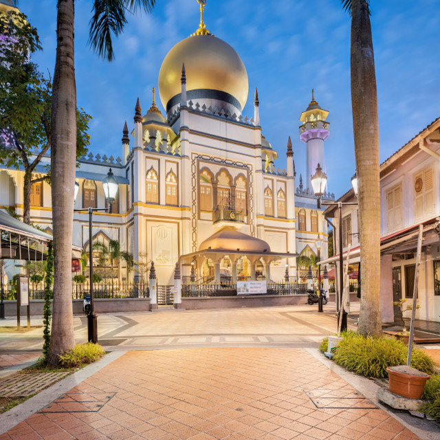 """""""The Sultan Mosque (Masjid Sultan) taken at dawn, Singapore"""" stock image"""