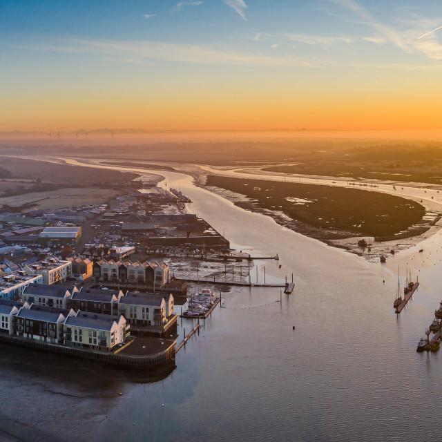 """Sunrise over Brightlingsea Harbour"" stock image"