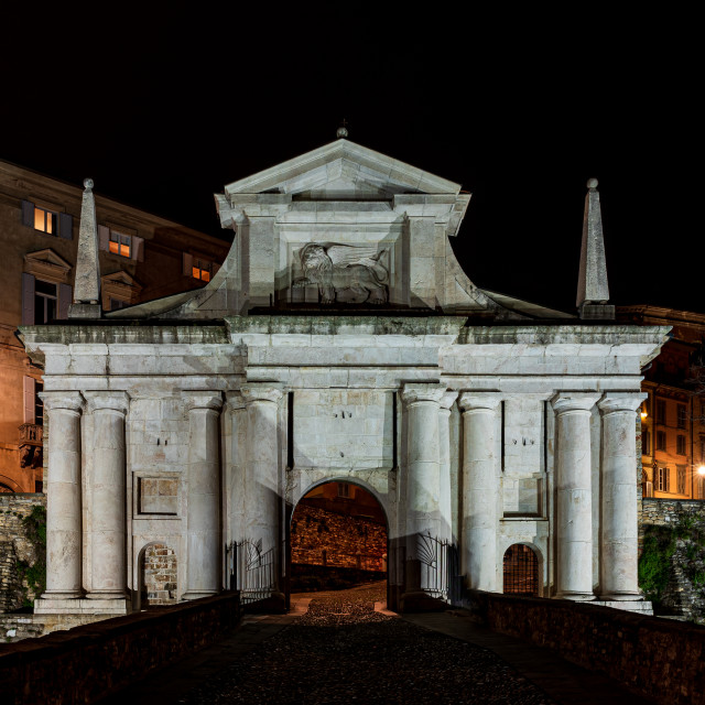 """Night image of the Porta San Giacomo in Bergamo"" stock image"