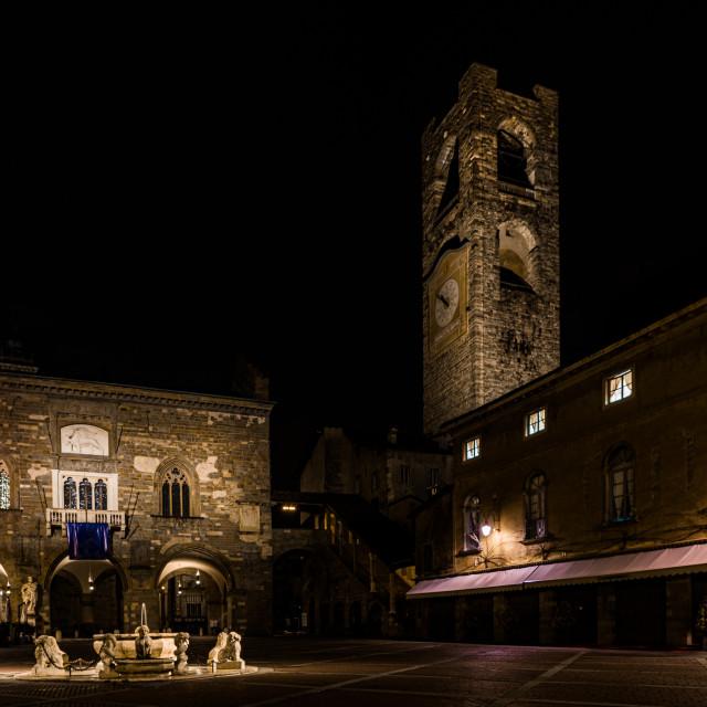 """""""Nocturne image of Piazza Vecchia in Città Alta of Bergamo"""" stock image"""