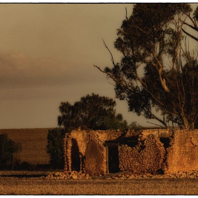 """Crumbling Stone House"" stock image"