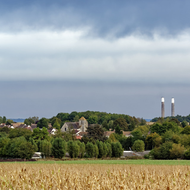 """""""The church and the chimneys"""" stock image"""