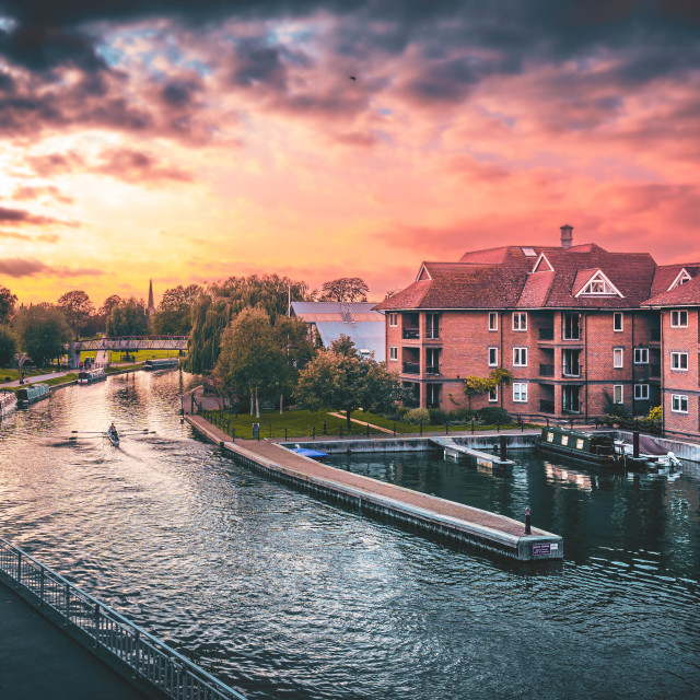 """""""Sunset on The River Cam."""" stock image"""