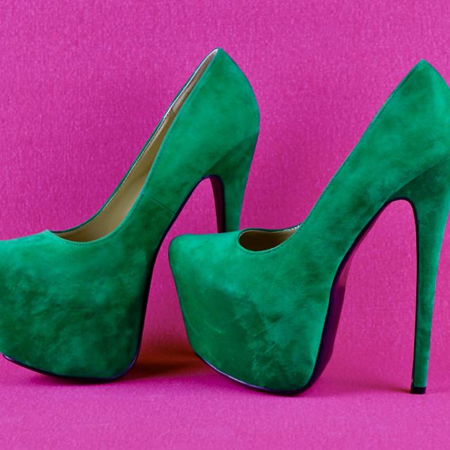"""Green Suede Platform Shoes"" stock image"