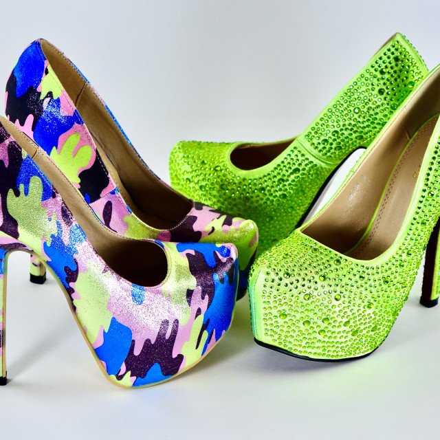 """""""Crystal And Glitter Platform Shoes"""" stock image"""