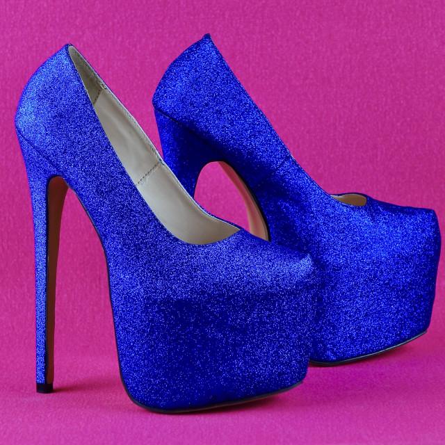 """Blue Glitter Platform Stiletto Shoes"" stock image"