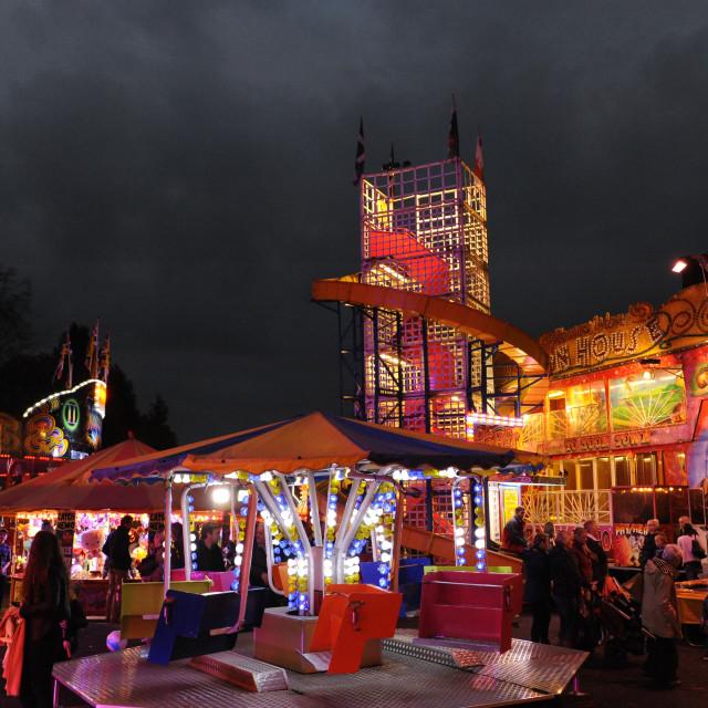 """Fun Fair at Bampton, Devon"" stock image"