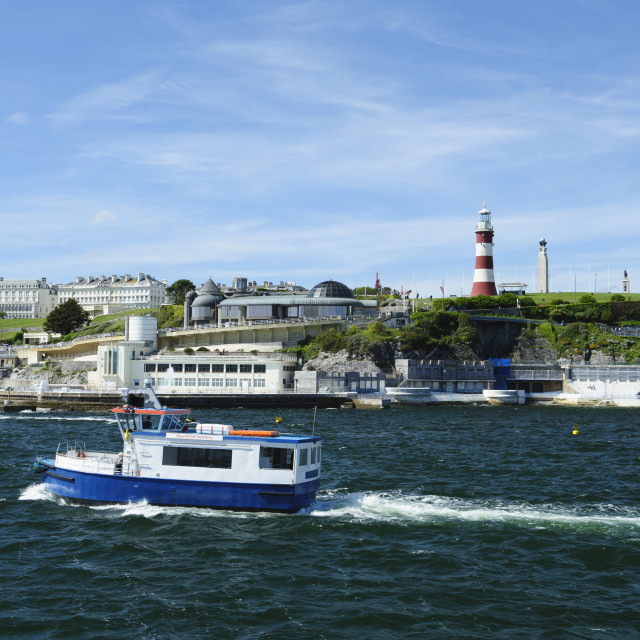 """""""Plymouth Hoe from Plymouth Sound"""" stock image"""