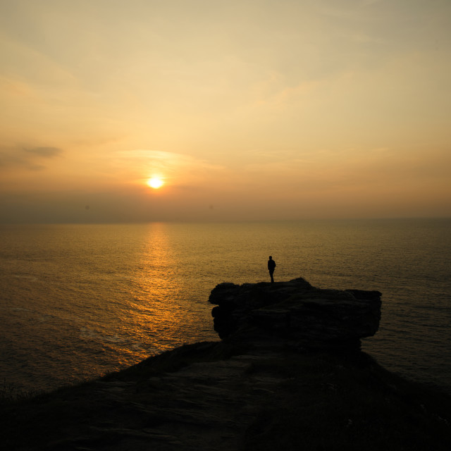 """""""Sunset at Barras Nose, Cornwall"""" stock image"""