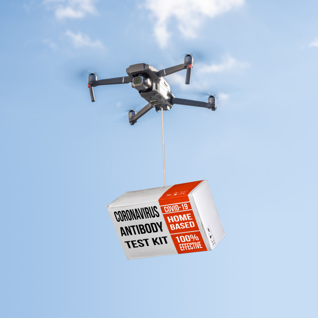 """""""Drone delivering a coronavirus home test kit to residential area against blue..."""" stock image"""