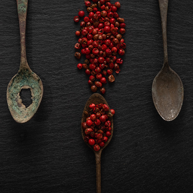 """""""Red pepper over old spoons"""" stock image"""