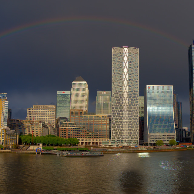 """Rainbow Over Canary Wharf"" stock image"