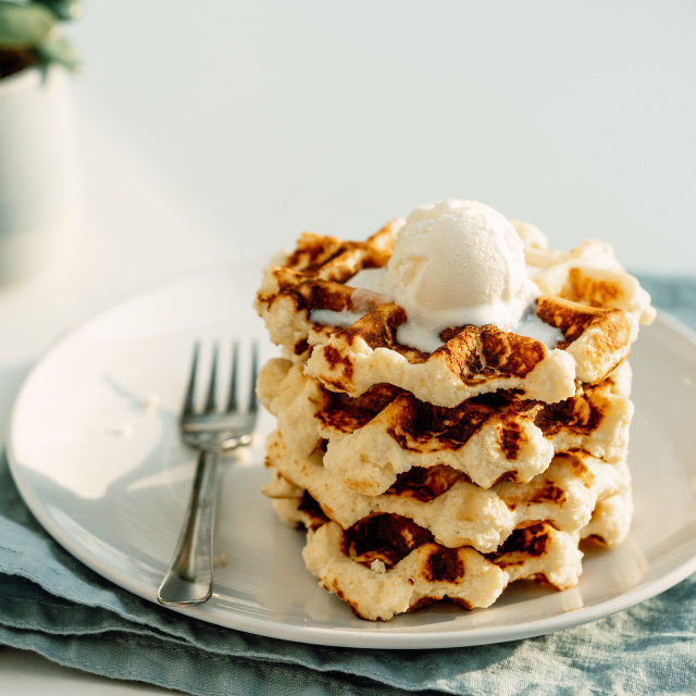 """""""Ricotta cheese chaffles or waffles"""" stock image"""