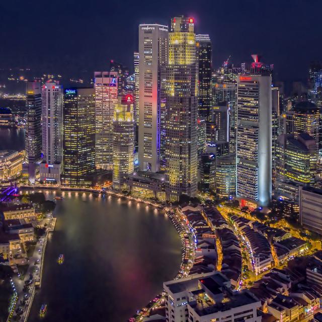 """Night Boat Quay Cityscape"" stock image"
