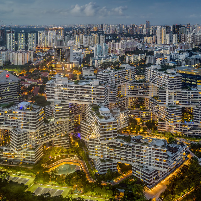 """""""The Interlace Apartments"""" stock image"""