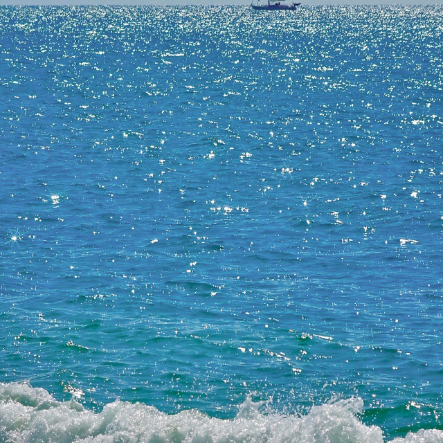 """""""Sea Surf With Boat On The Horizon"""" stock image"""