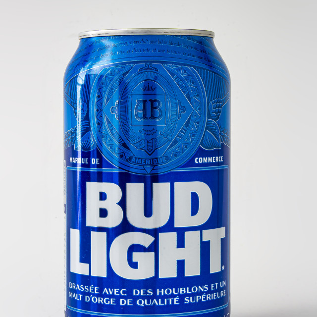 """A beer can of bud light on a white background"" stock image"