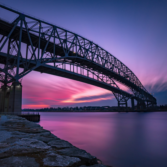 """Bluewater Bridge Sunset in Sarnia Ontario Canada"" stock image"