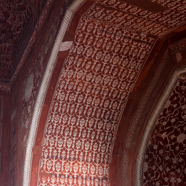"""Paintings in the mosque located West of the Taj Mahal"" stock image"