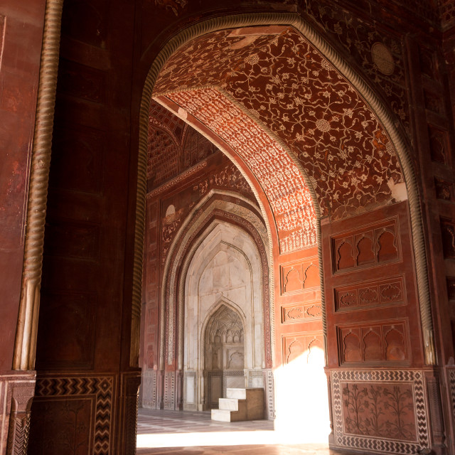 """Doorway in the mosque located West of the Taj Mahal mausoleum"" stock image"