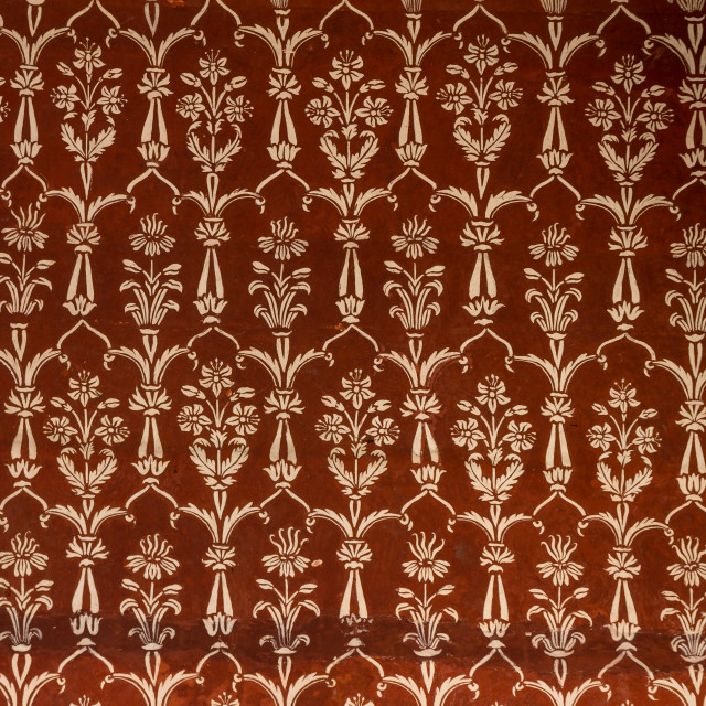 """""""Pattern paintings in the Taj Mahal's mosque"""" stock image"""