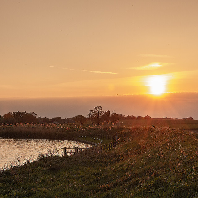 """Sunset over Fens"" stock image"