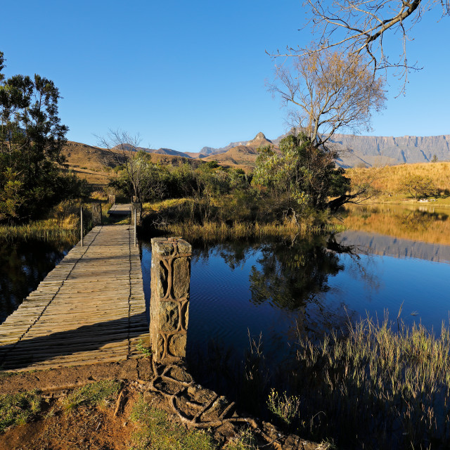 """""""Scenic pond and mountains - South Africa"""" stock image"""
